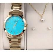 ae08a18f35e KIT Relógio Feminino Aço Dourado Visor Azul CN26724Y - BRINDE