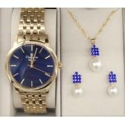 56d405dc59b KIT Relógio Feminino Dourado Visor Azul CN27732K - BRINDE