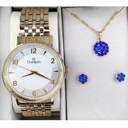 4dbacb50fd2 KIT Relógio Champion Feminino Aço Dourado Visor Prata CN29481D - BRINDE
