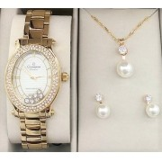 32e5ce4ec75 KIT Relógio Feminino Champion Dourado Fundo Branco Strass CN29838W - BRINDE