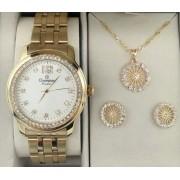 d54ad228143 KIT Relógio Champion Feminino Aço Dourado Visor Branco Strass CN29954W-  BRINDE