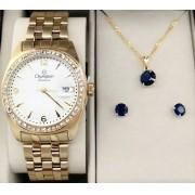 881216f9f83 KIT Relógio Feminino Champion Dourado visor Branco com Strass CN29981W-  BRINDE