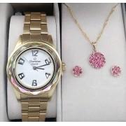 71be7e1f46f Kit Relógio Feminino Champion Aço Dourado Visor Branco Crystal Diamantado  CN29990J - BRINDE