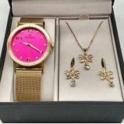 18cdb2b8fb1 KIT Relógio Champion Dourado Aço Rosa Pink Strass CN29034J -BRINDE