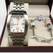 994b322f32f KIT Relógio Champion Feminino Aço Quadrado Romanos Rose CA21295Y- BRINDE