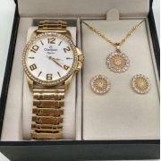 4e454e27f27 KIT Relógio Champion Feminino Dourado Com Strass Pulseira Elastica CN27821W