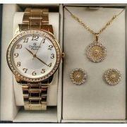 dcc4fbf6393 KIT Relógio Champion Feminino Dourado Strass CN29463B + Brinde