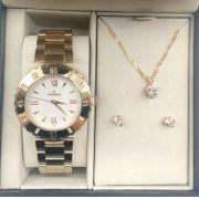 116de7b1736 KIT Relógio Champion Feminino Dourado Strass Romano CN29534W + Brinde