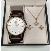 fc4c1030279 KIT Relógio Champion Feminino Dourado Visor Branco Pulseira Couro CN20328W-  BRINDE