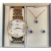 5a5198e8f59 KIT Relógio Champion Feminino Dourado Visor Prata CN29481D FLOR + Brinde