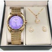 c8c32562639 KIT Relógio Champion Feminino Dourado Visor Roxo Com Strass Pulseira  Elastica CN278580 + Brinde