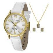 48cdaa5f0dd KIT Relógio Lince Feminino Pulseira Couro Branco Visor Prata com Strass  LRCH052L + BRINDE