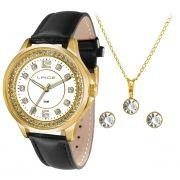 387a8c58203 KIT Relógio Lince Feminino Pulseira Couro Preta Visor Madre Pérola com  Strass LRC4398L KT25 + BRINDE