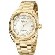 Relógio Champion Feminino Dourado Visor Prata com Pedras Vidro Diamantado  CN27189H e2a8ad9d73