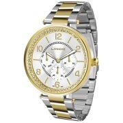 f3cdc7d95ed Relógio Lince Feminino Aço Prata com Dourado Visor Branco Strass LMTJ068L  S2SK