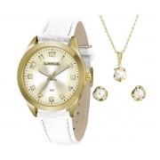 229e0fb3c14 KIT Relógio Lince Feminino Dourado Pulseira Couro Branca Visor Dourado  LRC4342L K165C2BX + Brinde