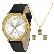 ef4bf3bb30c KIT Relógio Lince Feminino Pulseira Couro Preta Visor Prata com Strass  LRC4343L K156S2PX + Brinde