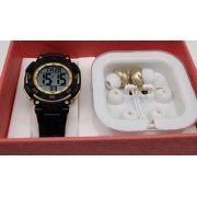 da7a4ded75f Relógio Speedo Preto com Dourado Feminino 80616L0EVNP1 -BRINDE FONES DE  OUVIDO