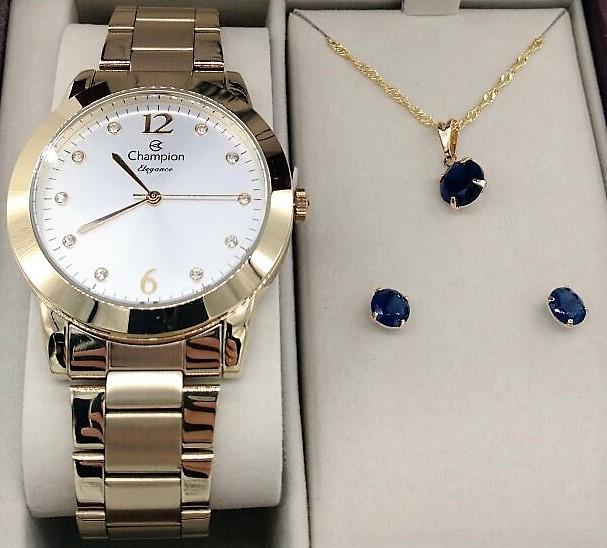9c20dd8bce4 KIT Relógio Feminino Champion dourado Visor Prata com Strass CN26788W  -BRINDE