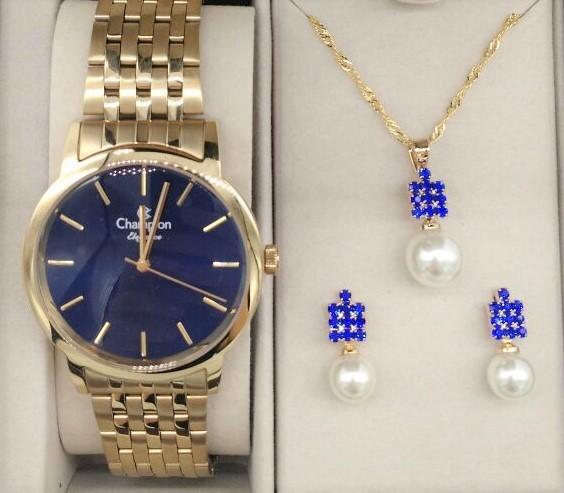 911a5fb0825 KIT Relógio Feminino Dourado Visor Azul CN27732K - BRINDE - VEZATTO
