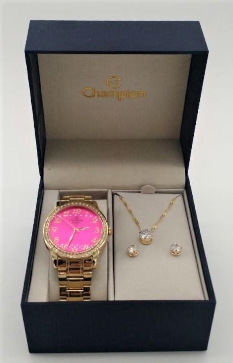 f75d85eda4e ... KIT Relógio Champion Feminino Aço Visor Rosa Pink Strass CN29463J-  BRINDE