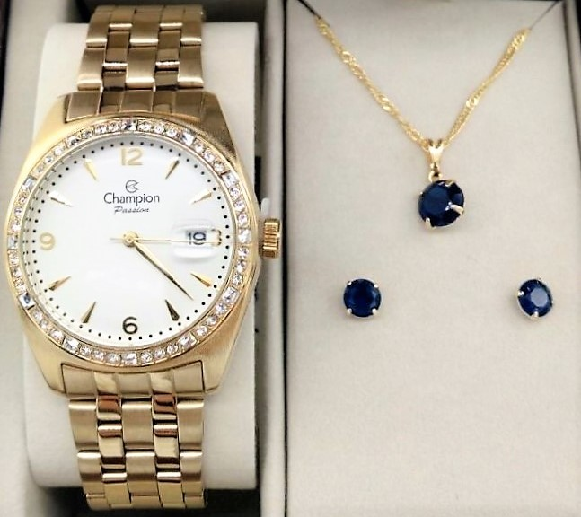 342e5ba97a1 KIT Relógio Feminino Champion Dourado visor Branco com Strass CN29981W-  BRINDE