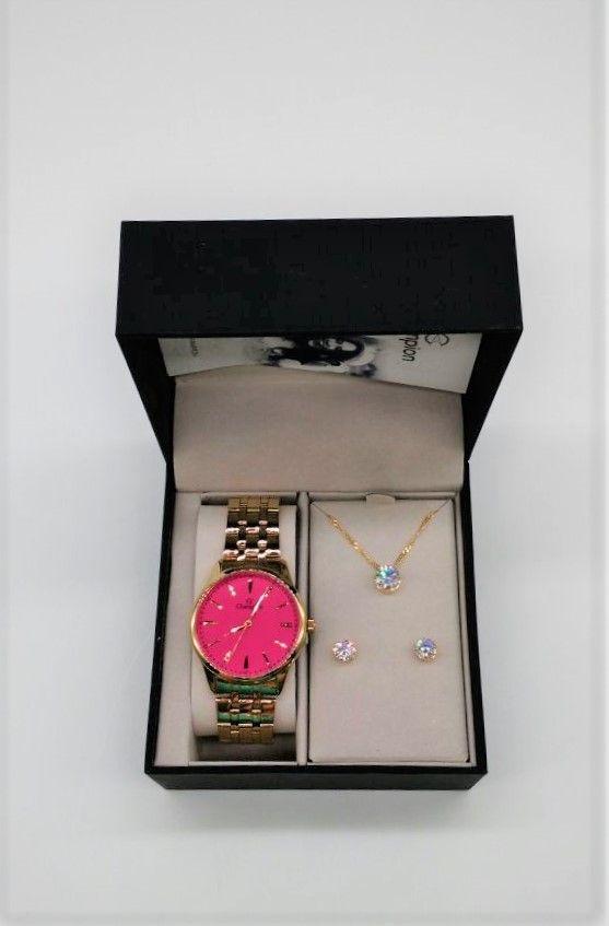 260248285ea ... KIT Relógio Champion Dourado Aço Rosa Pink Strass CN29516J - Brinde ...