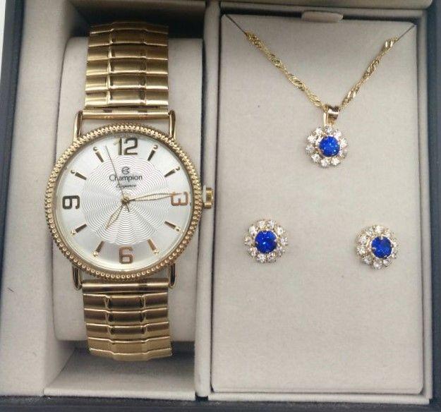 0ebdea88bbb KIT Relógio Champion Feminino Aço Dourado Pulseira Elastica CN27830W +  Brinde