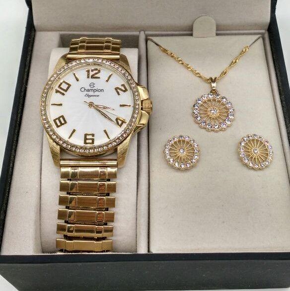 3b384f49a41 KIT Relógio Champion Feminino Dourado Com Strass Pulseira Elastica CN27821W