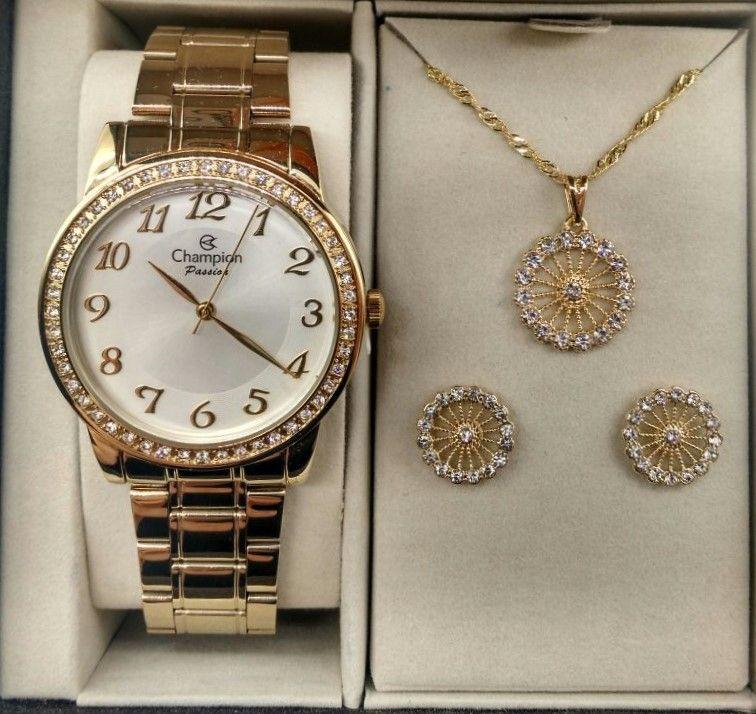e80192fc6 KIT Relógio Champion Feminino Dourado Strass CN29463B + Brinde - VEZATTO