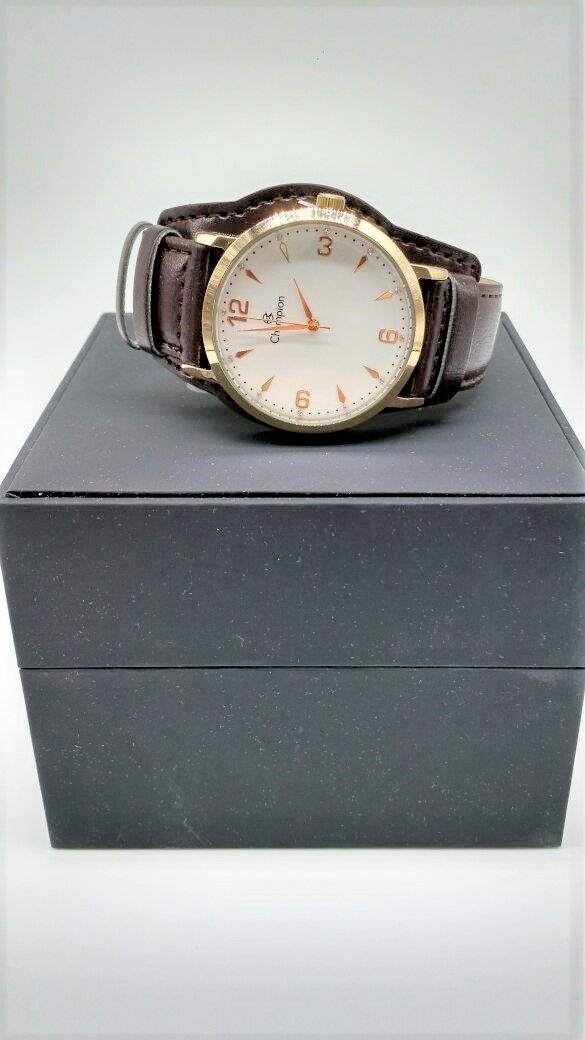 ba795eb2fea ... KIT Relógio Champion Feminino Dourado Visor Branco Pulseira Couro  CN20328W- BRINDE ...