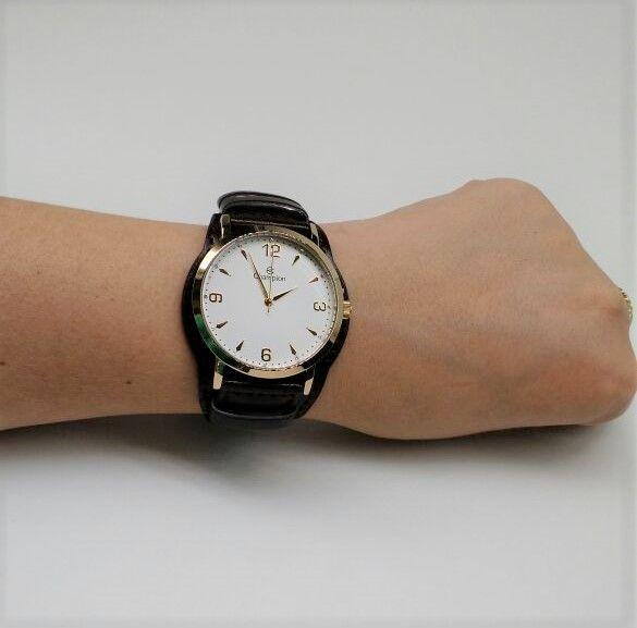 4cfd0b8034e ... KIT Relógio Champion Feminino Dourado Visor Branco Pulseira Couro  CN20328W- BRINDE