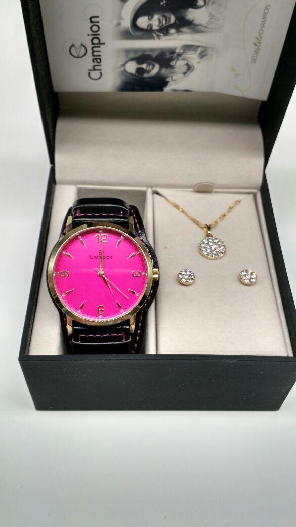 16a7813583c KIT Relógio Champion Feminino Dourado Visor ROSA CN20328J- BRINDE