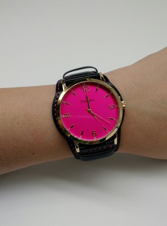 95dd086e349 KIT Relógio Champion Feminino Dourado Visor ROSA CN20328J- BRINDE ...