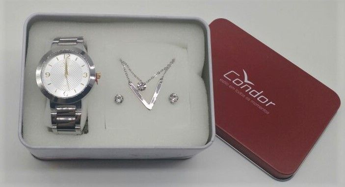 eeae612b3ec KIT Relógio Condor Feminino Aço Prata Visor Prata com Dourado CO2035KLO K3K  + BRINDE