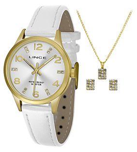 60144d45df7 KIT Relógio Lince Feminino Pulseira Couro Branco Visor Prata com Strass  LRCH052L + BRINDE