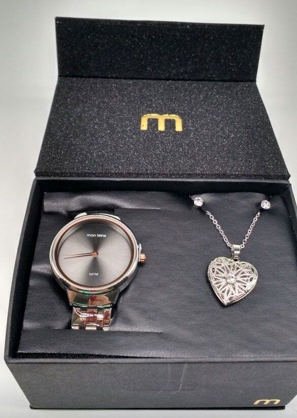 84404963aac ... KIT Relógio Mondaine Feminino Aço Prata Visor Grafite 53577 L0MKNE1 +  Brinde ...