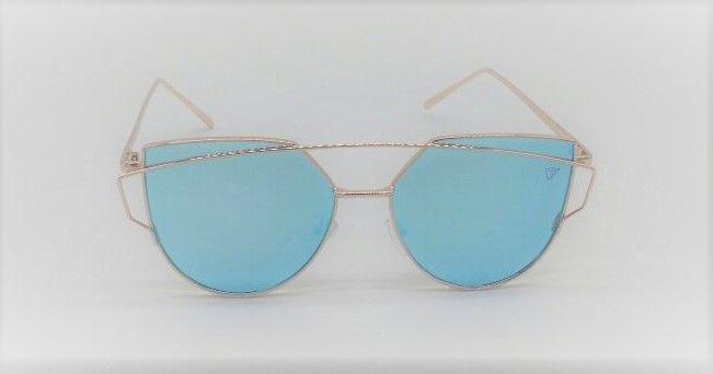 4d7fa6d0d4cb0 Óculos de Sol Feminino VEZATTO Dourado Flat Gatinho Azul Espelhado H01475 C3