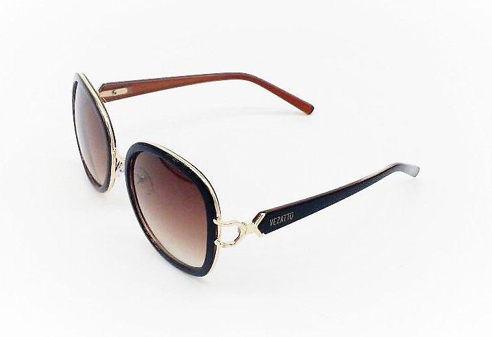 Óculos de Sol VEZATTO Feminino Dourado Marrom Degrade WP3956 - VEZATTO 62125ed274