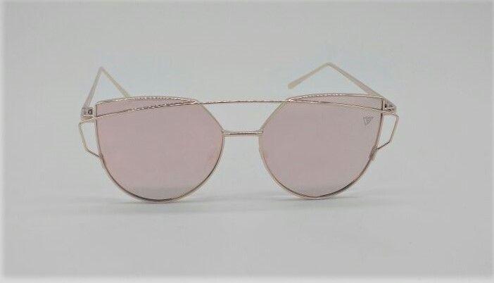 c59cd75e7b200 Óculos de Sol VEZATTO Feminino Dourado Rosa Flat Gatinho Espelhado H01475 C4