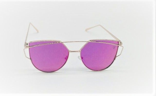 f220f23a0f536 Óculos de Sol VEZATTO Feminino Dourado Rosa PinK Flat Gatinho Espelhado  H01475 C5