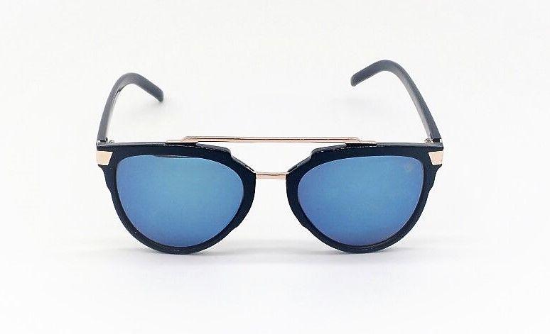 1ea7ee329f3f4 Óculos de Sol VEZATTO Feminino Preto com Espelhado Azul YD1669 C2 ...