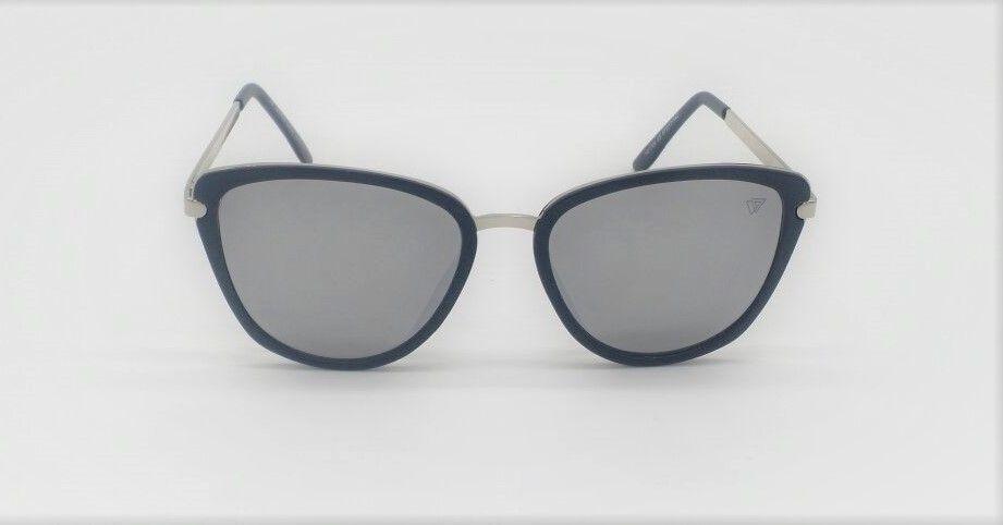 Óculos de Sol VEZATTO Feminino Preto Gatinho Espelhado Prata YD1720 ... 440a6754a2