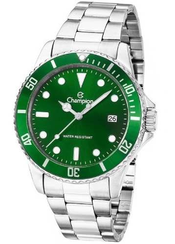 5789df1a676 Relógio Champion Masculino Aço Prata Visor Verde CA31266G - VEZATTO