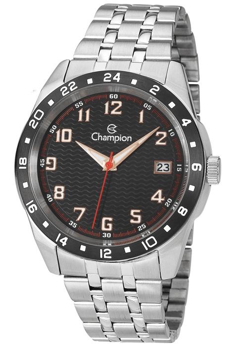 8f4739e06d3 Relógio Champion Masculino Aço Prata Visor Preto CA31382T - VEZATTO