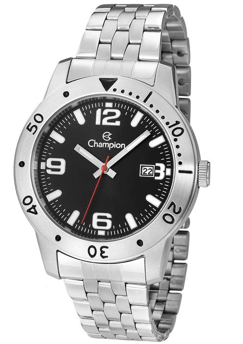 7a0db379fde Relógio Champion Masculino Aço Prata Visor Preto CA31391T - VEZATTO