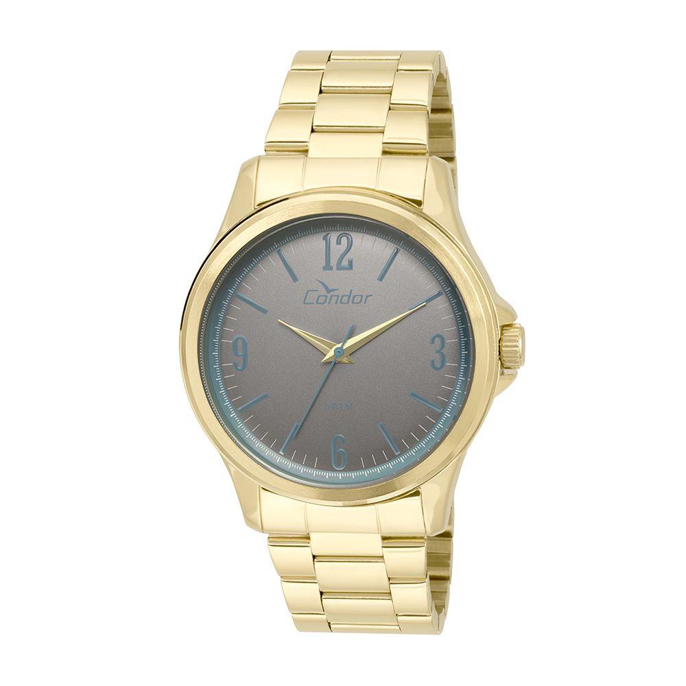 ba19a3e43bb Relógio Condor Feminino Aço Dourado Visor Grafite CO2039AG 4C - VEZATTO