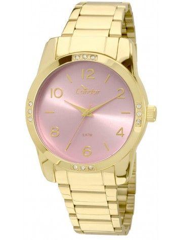 4184528b519 Relógio Condor Feminino Aço Dourado Visor Rosa CO2035KOE 4T - VEZATTO