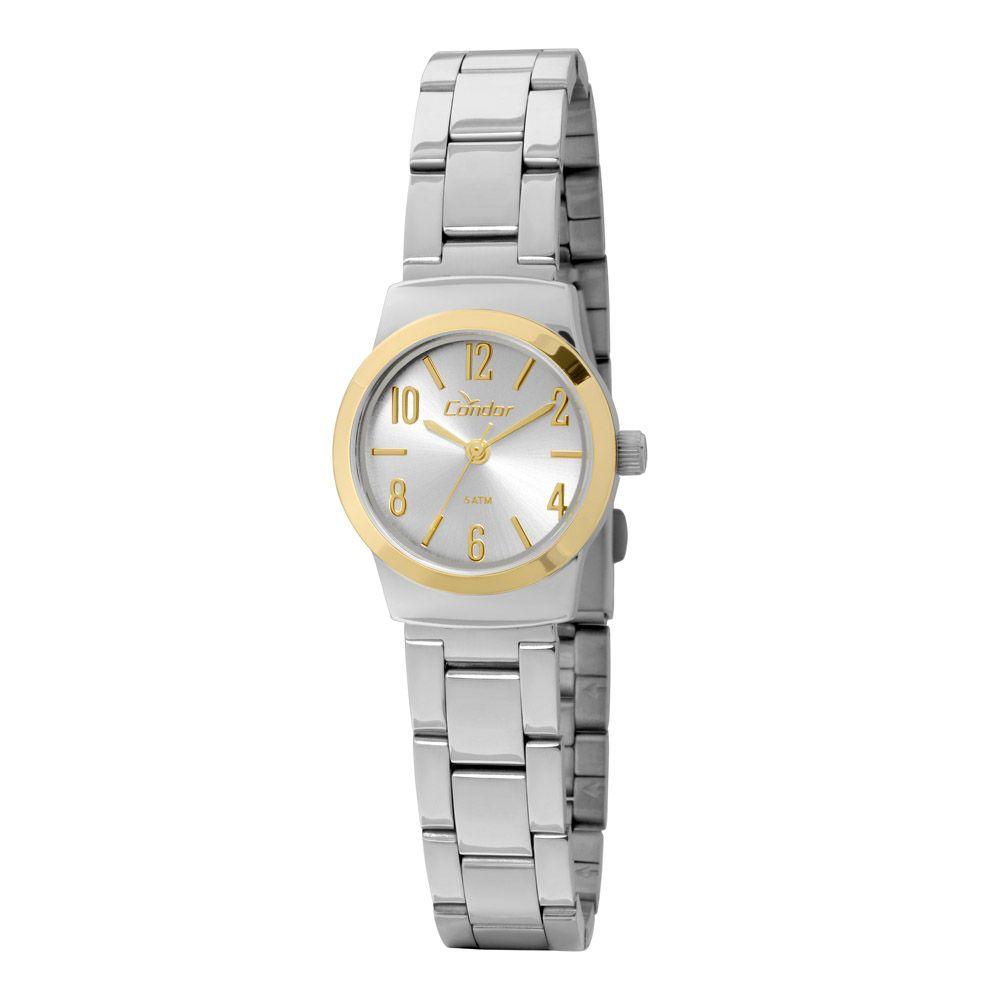 8ebf40f43c1 Relógio Condor Feminino Pequeno Aço Prata com Dourado CO2035KLX 3K ...