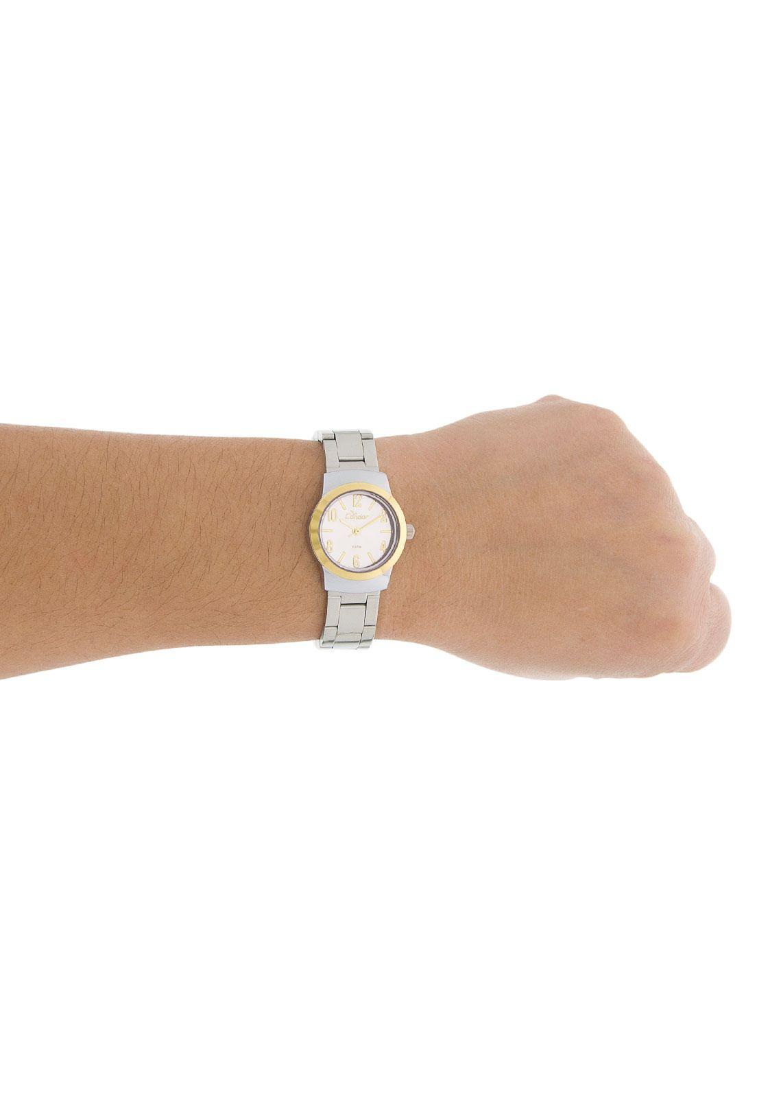 015ef0055a1 ... Relógio Condor Feminino Pequeno Aço Prata com Dourado CO2035KLX 3K ...